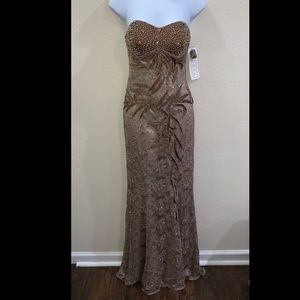 Fiesta- Light brown/ gold hand beaded embroidered